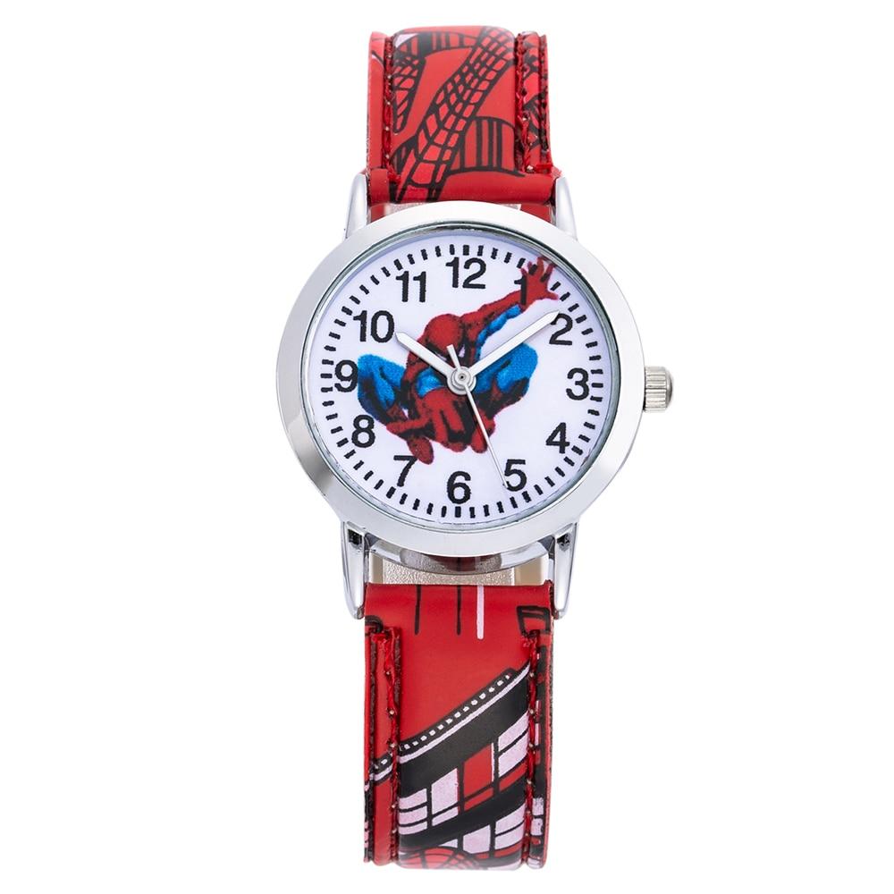 2018 New Fashion Children SpiderMan Watch Cute Cartoon Clock Kids Watches Leather Quartz Saats Gift Hour Relogio