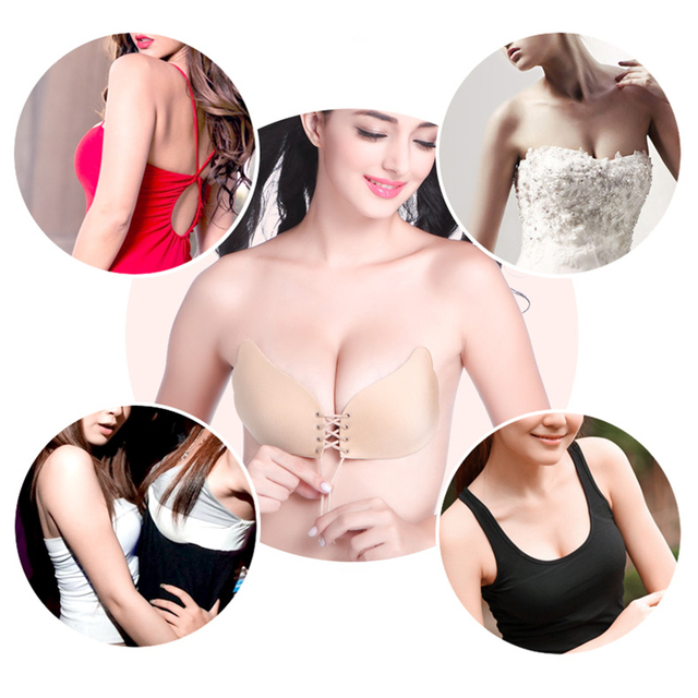 Strapless Silicone NuBra Invisible Women Push Up Bra Without Straps Adhesive Underwear Sticky Bras For Wedding Dress Brassiere