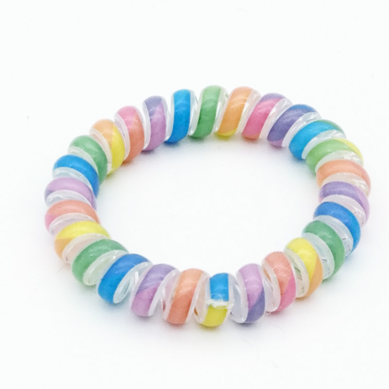 10pcs/lot Size 5 CM Colorful Hair Accessories Telephone Cord Phone Plastic Headband Scrunchy Hair Band Hair Rope Headband