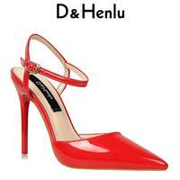 D H Brand Women S Sexy Platform Pointed Toe Wood Thin Heels High Heeled 12
