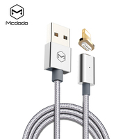 Mcdodo Magnetic Lightning to USB Cable Woven Fabric Indicator Light Cable 1.2m 2.4A Fast Charging for iPhone 7 6 5 5s iPad