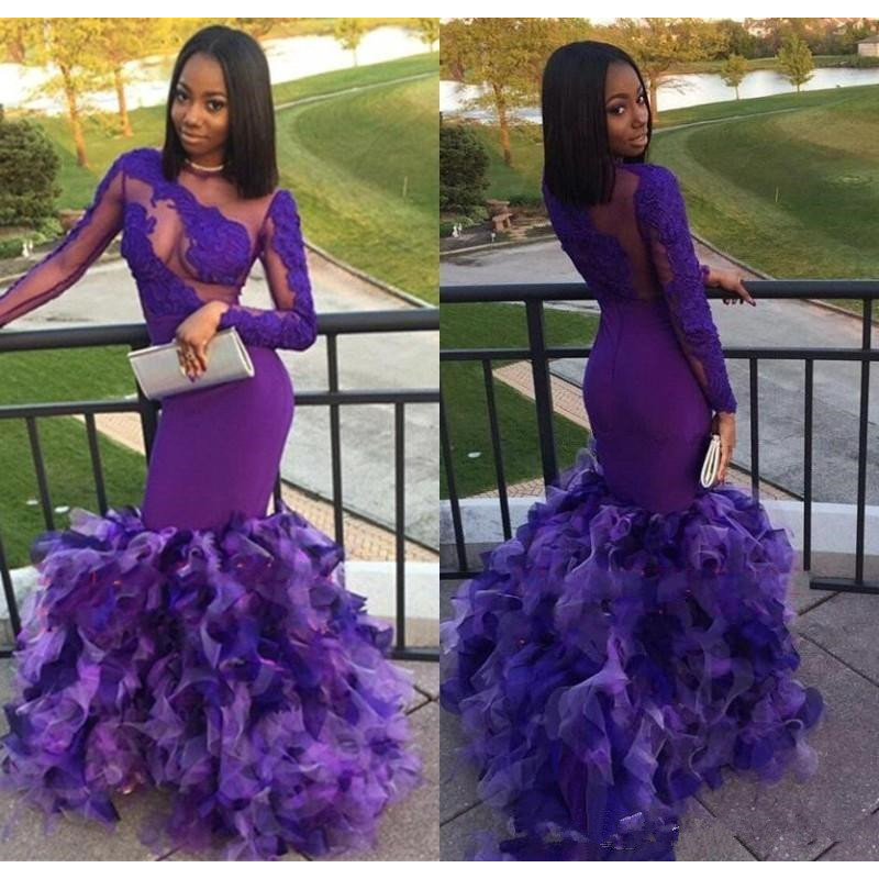 African Ruffled Train Sexy Illusion Mermaid Purple Prom Dresses Long 2019 Appliqued Long Sleeves Black Girls Prom Party Gown
