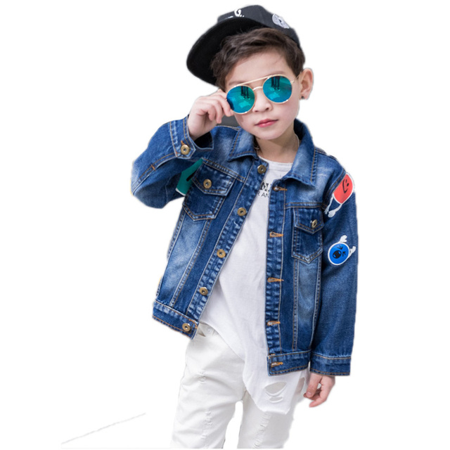 7302bc7564da New Smile Printed Big Boys Denim Jackets Long Sleeved Kids Clothing Jeans  Boys Outerwears Cartoon Jeans Jackets Children Outfits