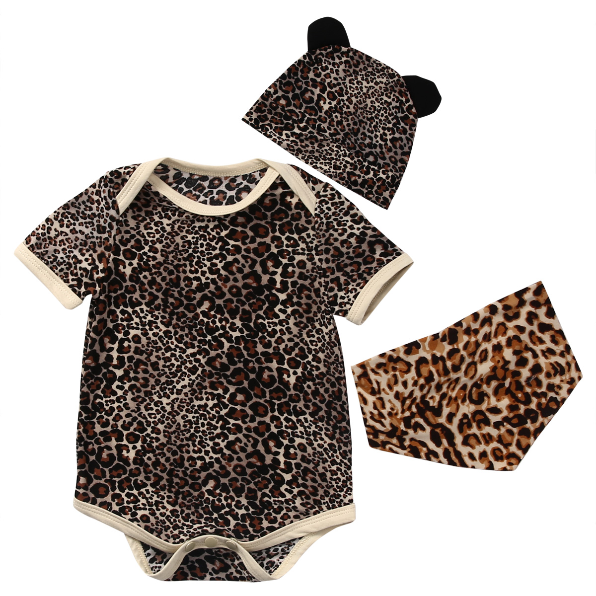 Summer Newborn baby clothing Baby boy Clothes leopard baby Bodysuit short sleeve +Hat +Bibs Outfits baby clothing 0-18M he hello enjoy baby girl clothes sets newborn short leopard grain baby bodysuit short sleeve romper hair band shoes