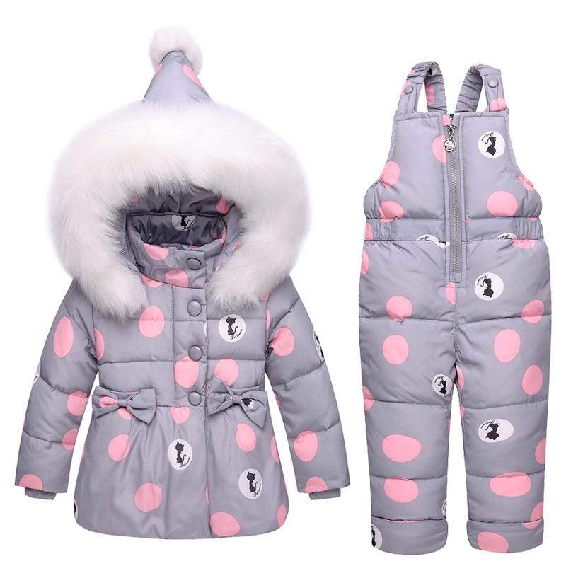 Новые детские зимние пальто Зимний пуховик для маленьких девочек зимние костюмы снег износ комбинезон в горошек с бантом куртка с капюшоно...