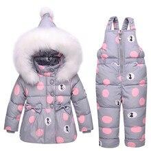 Новое зимнее пальто для малышей, Зимний комбинезон на утином пуху, зимняя одежда для маленьких девочек, зимняя одежда, комбинезон с бантом, куртка с капюшоном в горошек
