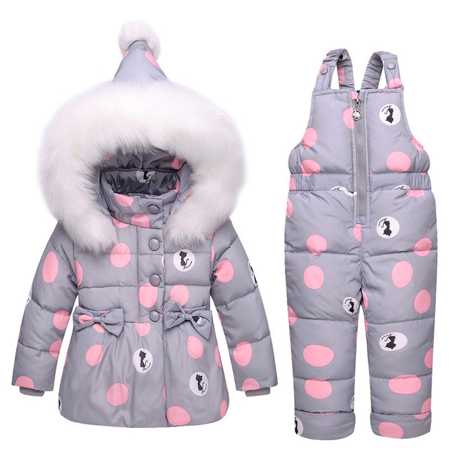1e2e9ae54 New Infant Baby Winter Coat Snowsuit Duck Down Toddler Girls Winter Outfits  Snow Wear Jumpsuit Bowknot Polka Dot Hoodies Jacket