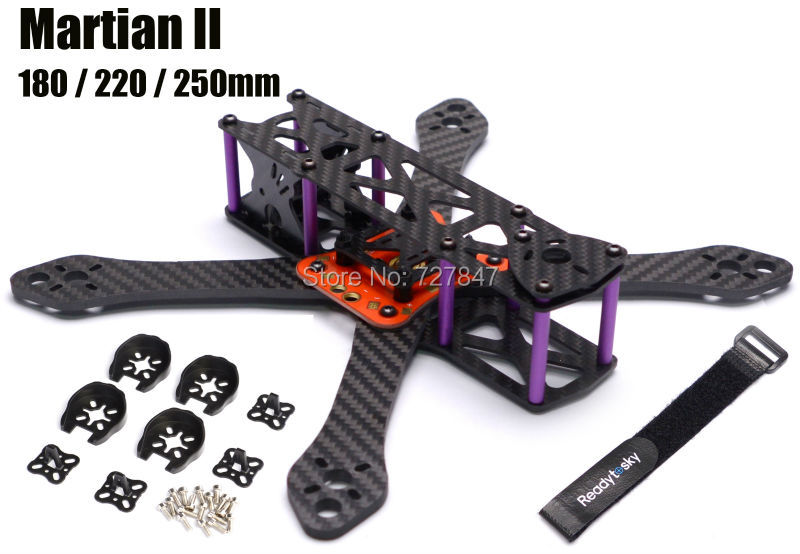 REPTILE Martian II 2 180 / 220 / 250 180mm 220mm 250mm 4mm Arm Thickness Carbon Fiber Frame Kit w/ PDB For FPV Racing smk0825 to 220f