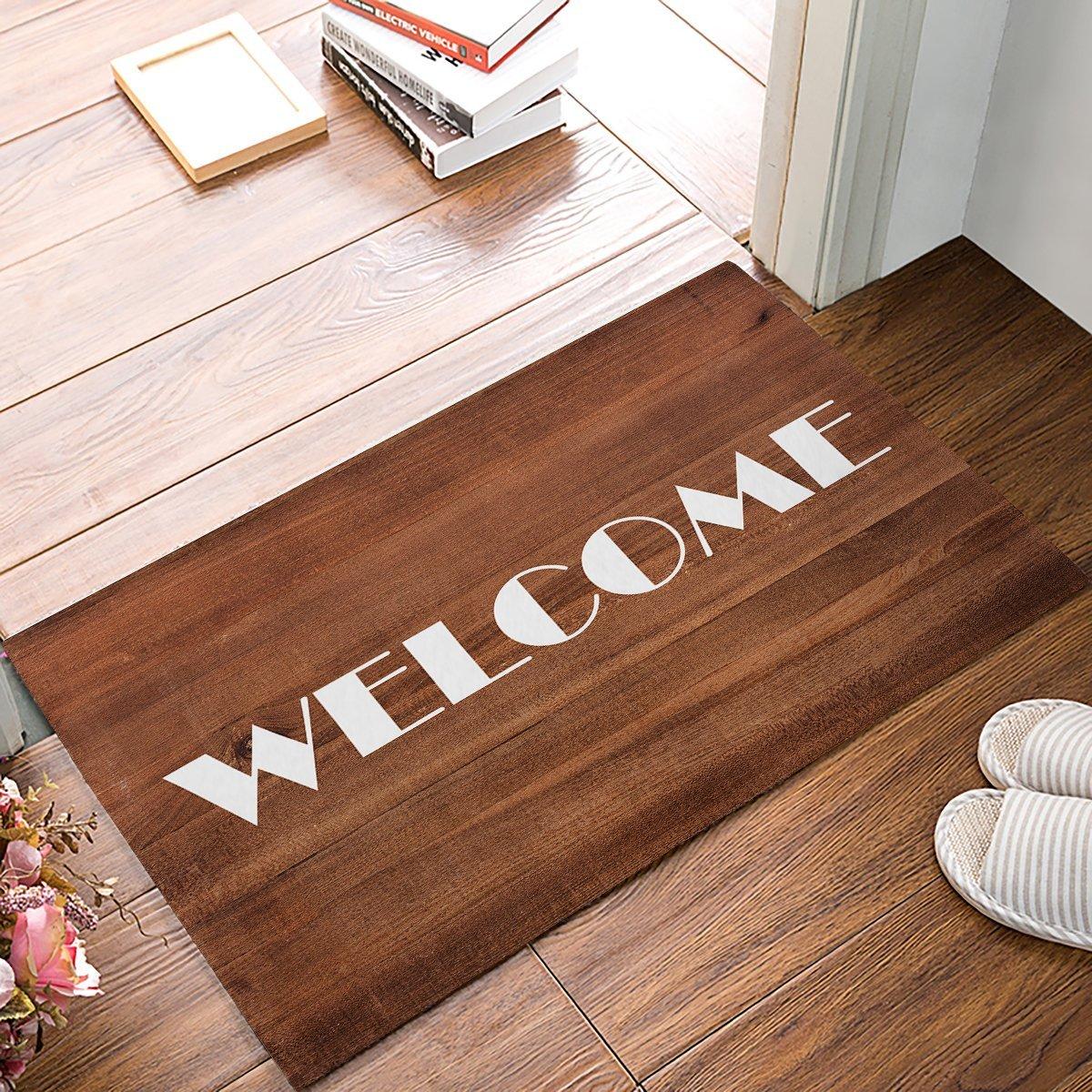 Vintage Retro Brown Wood Texture Welcome Door Mats Kitchen Floor Bath Entrance Rug Mat Absorbent Indoor Bathroom Rubber