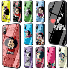 Mafalda Tempered Glass TPU Black Cover Case for iPhone 5 5S 6 6s 7 8 plus X XR XS 11 pro Max(China)
