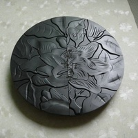 Chinese antique flowers engraving large black door handles paint technology glass door / doors modern Chinese handle