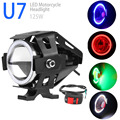 U7 Car Motorcycle Headlight With Switch 125W 3000LM LED Fog light 4Colors Circle Cool White DRL Spotlight Driving Daytime Light
