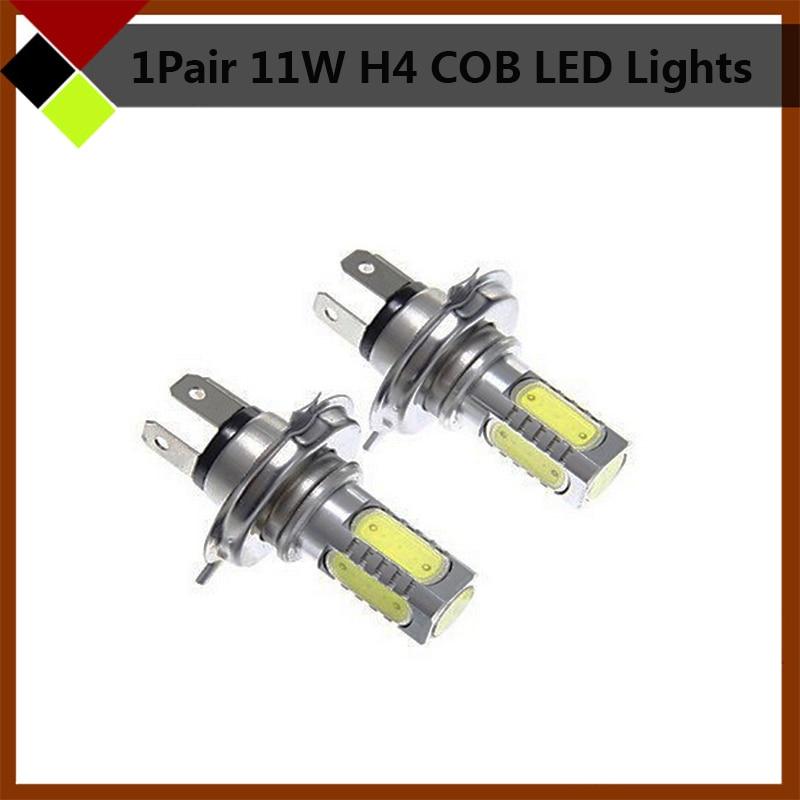 1 Pair 11W H4 HB2 9003 White LED Bulbs Car Headlight Low Beam Fog Daytime Running Lamps