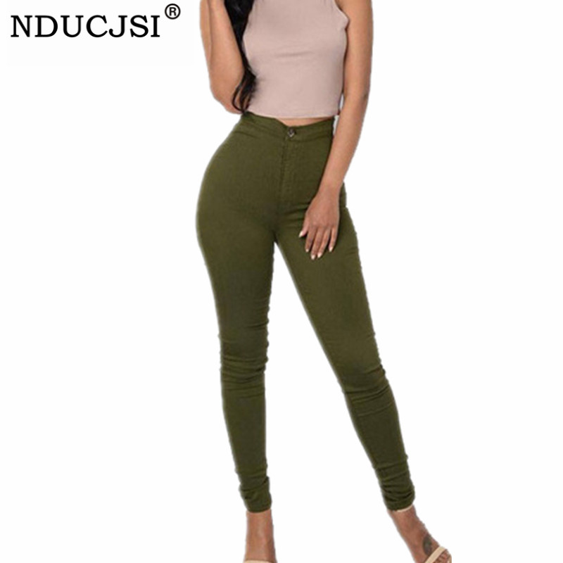 NDUCJSI Skinny Denim   Jeans   Women Pencil Pants Casual Stretch Denim Pants High Waist Trousers Classic Army Green Plus Size   Jeans