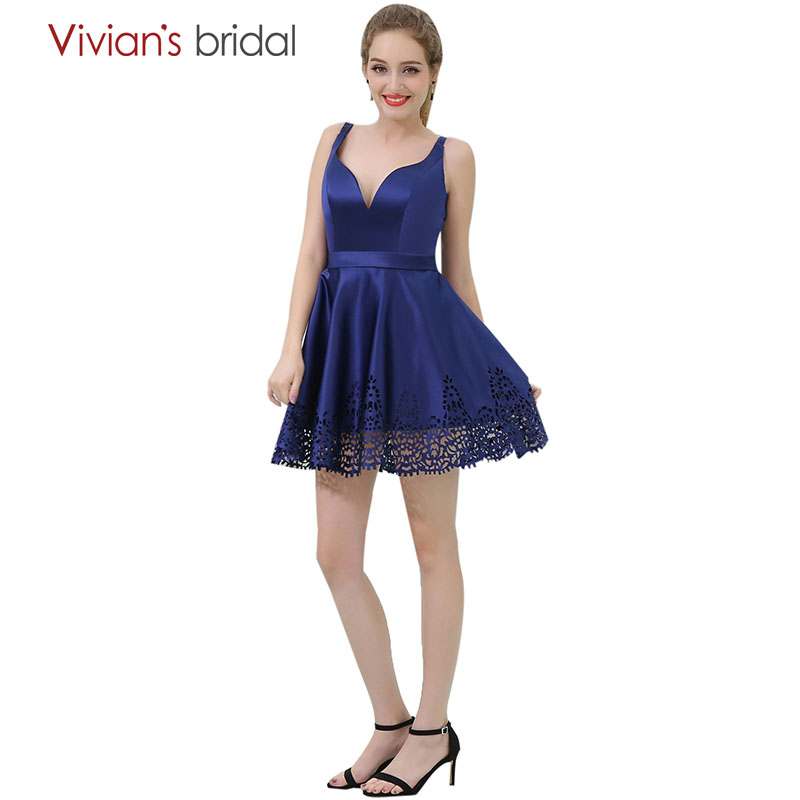 Simple A Line Cocktail Dresses Vivian's Bridal Royal Blue V Neck Short Dress Party Gown robe cocktail
