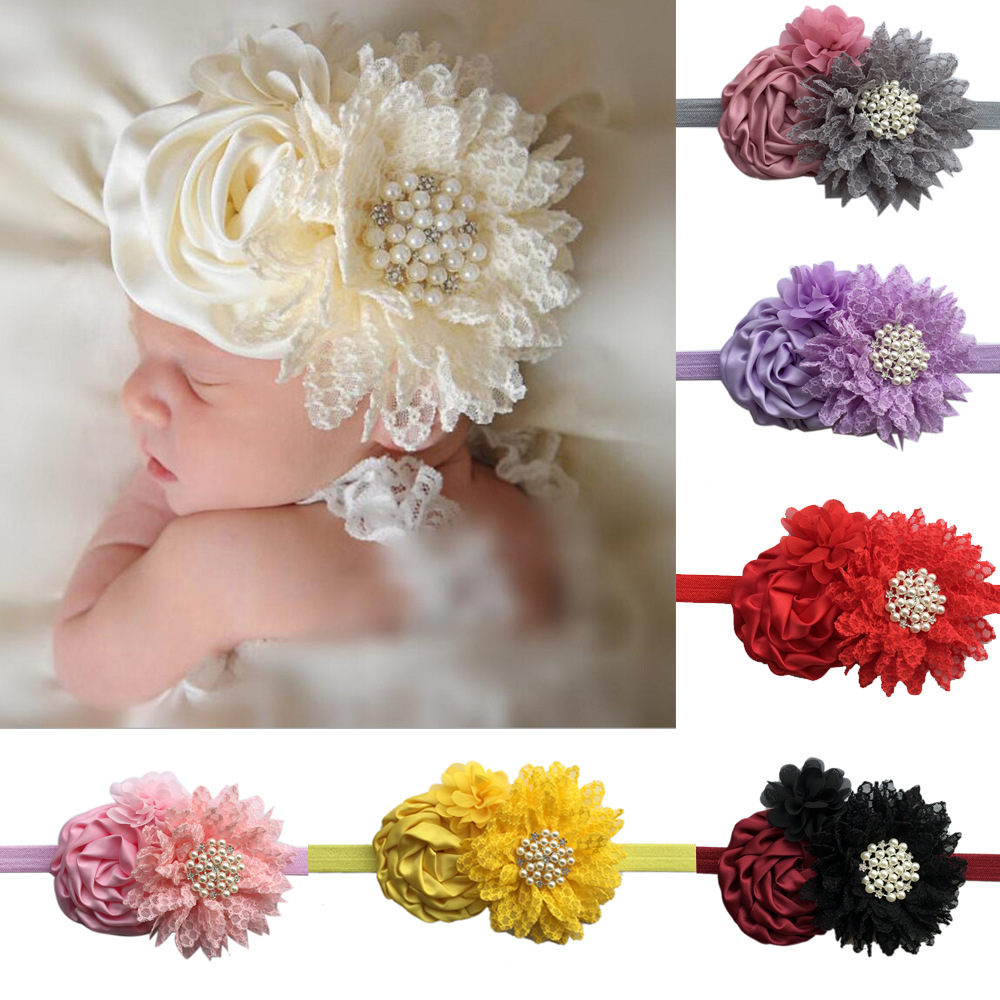 retail  Kids Rose Chiffon Flowers With Big Rhinestone elastic headband Girls fabric flowers headbands Children hair accessories handmade big fabric rose flower headband hair garland wedding headpiece floral crown 12 colors