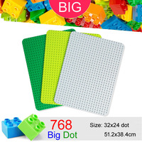 768 Big Dots 32x24 Big Baseplate Compatible With Duplo DIY Base Plate MOC Building Block Loose Brick 51.2*38.4cm