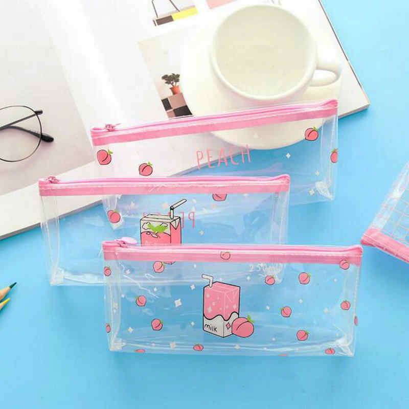 1 Piece Pink Peach Girls Pencil Bag Student Pen Case School Office Stationery Children's Birthday Gift