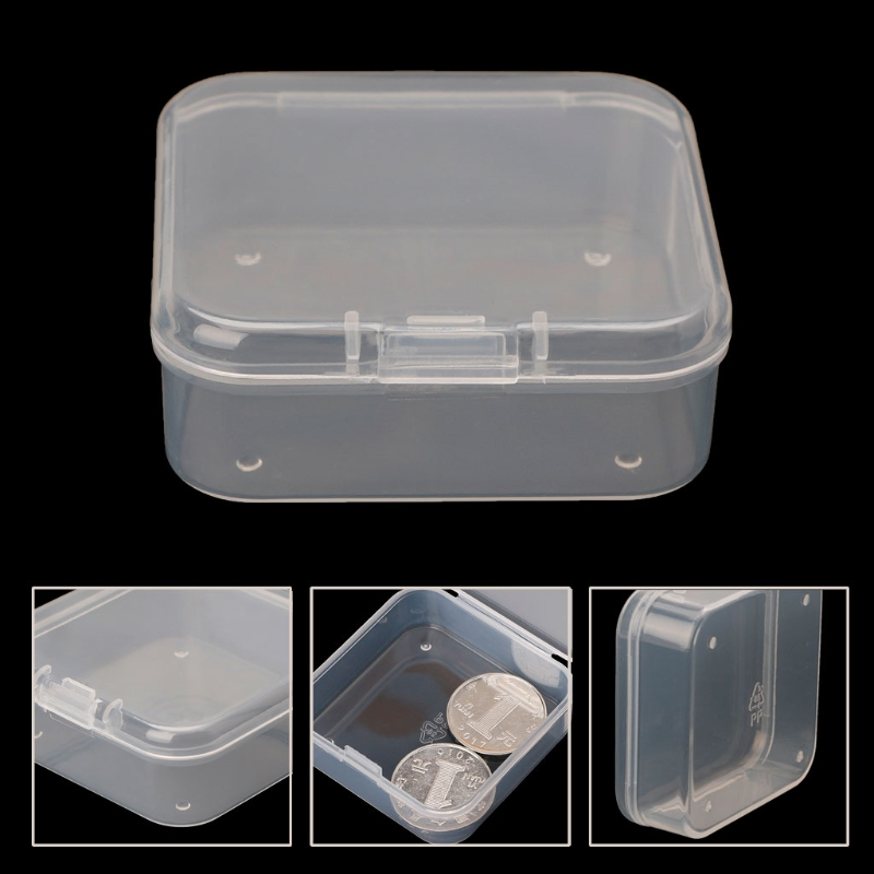 Clear Coin Collection Box Small Transparent Plastic Storage Box Clear Square Multipurpose Display Case