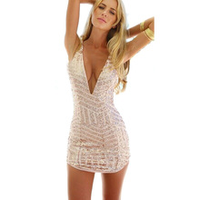 New Year Eve Prom Women Party Dress Cresida Sexy deep V Neck Bodycon Gold Sequin plunge Dress Hollow Cut Out Glitter Dress