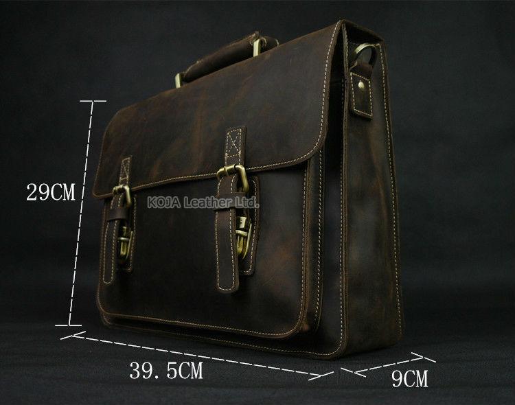 Vintage Crazy Horse Leather Men Briefcase Laptop Bag Work Business Bag Genuine Leather Briefcase Men Shoulder Bag Crossbody bag 2