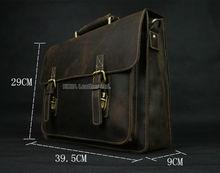 Vintage Horse Leather Men Briefcase Laptop Bag