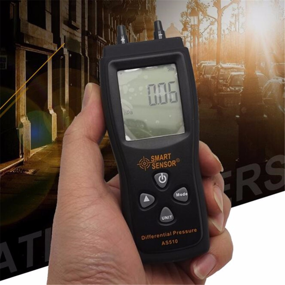 Smart sensor AS510 Differential Pressure Meter Manometer 0~100hPa negative vacuum pressure meter lcd pressure gauge differential pressure meter digital manometer measuring range 0 100hpa manometro temperature compensation
