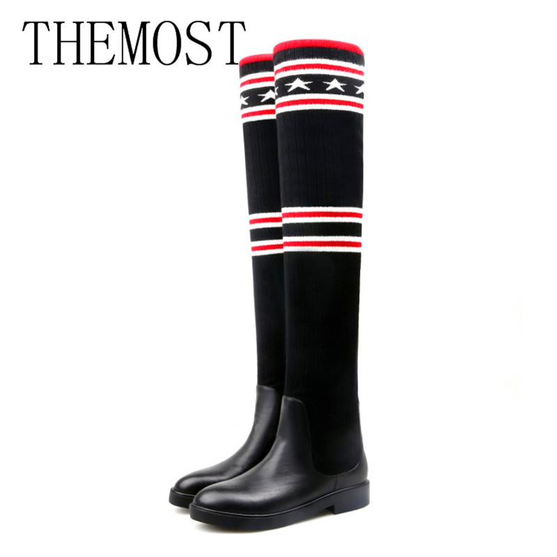 THEMOST BrandSocks Boots Women Over The Knee High Boots Autumn Winter Knitted Shoes Long Thigh High Boots Elastic Slim Size34-45 fashion women boots knee high elastic slim autumn winter warm long thigh high knitted boots woman shoes or935432