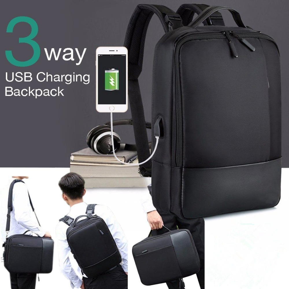 3-in-1 Premium Anti-theft Laptop Backpack With USB Port Multifunction USB Charging Men Backpacks For Teenager Fashion Male