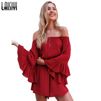 LAISIYI Off Shoulder Rompers Womens Jumpsuit Short Sexy Playsuits Summer Casual Loose One Piece Red Black