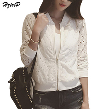 Hzirip Lace Hollow Out Jackets 2018 Spring Summer New Casual Slime Women Thin Jacket White Black Lady Shorts Outwear Plus Size