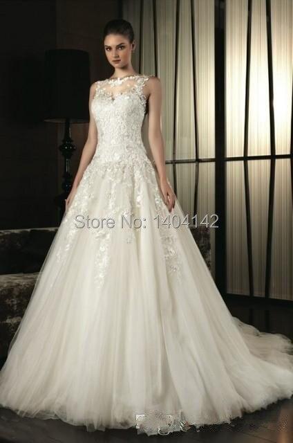diseñadores de ver a través de vestidos de novia de encaje de cuello