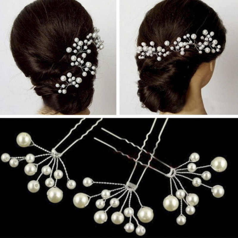 1PCS Women  fashion Pearl Hair Pins Hair Clips Bridesmaid Jewelry Wedding Bridal Accessory