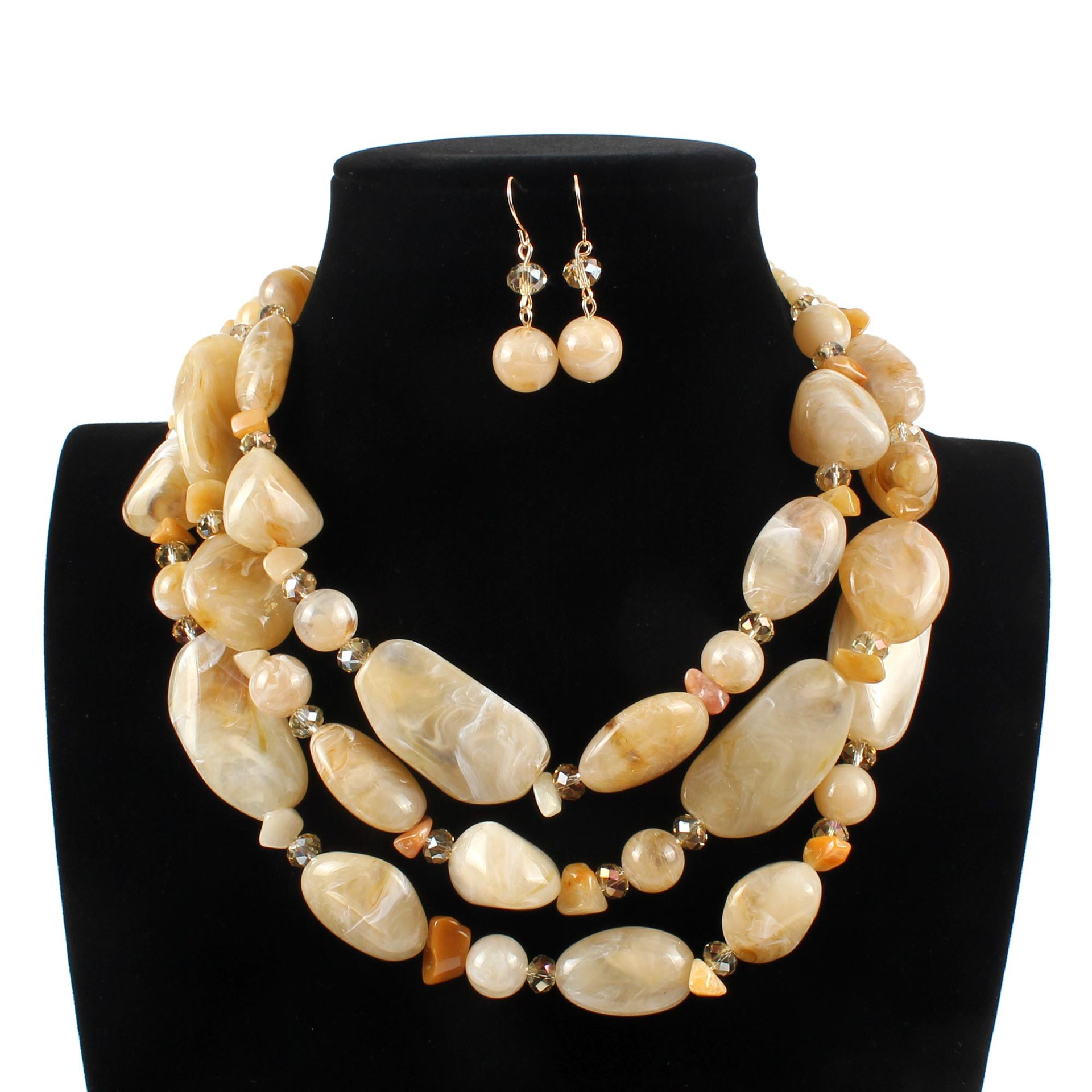 Wholesale Lots New Strand Beaded Resin Crystal Geometric Necklace Earrings Exaggerated Multi Layer Bohemian Jewelry Sets Women graceful exaggerated rhinestone geometric necklace for women