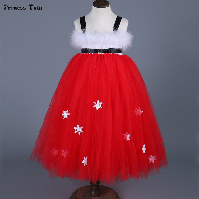kids girls christmas party dresses costumes red snowflake tutu dress