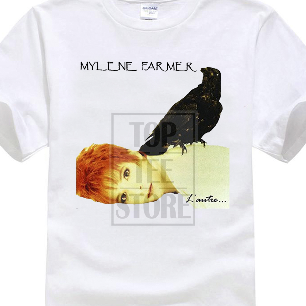Crew Neck Funny Short Sleeve T Shirt Fashion T Shirts Mylene Farmer Lautre Funny Soft O Tee Shirts For Mens ...
