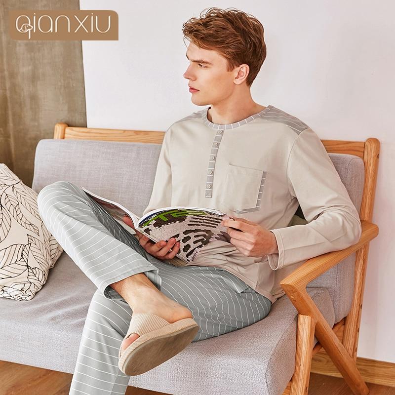 2019 Autumn Homewear Men Casual Striped Pajama sets Male Cotton Sleepwear suit Couples Long sleeve V