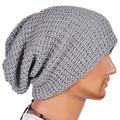 Men Fashion Knitting Slouchy Beanie Cap Baggy Vertical Stripe Warm Winter Hat