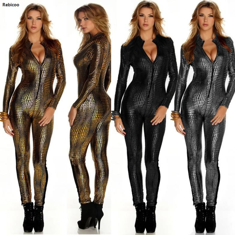 New  Women  Sexy Metal Snake Skin  Faux Leather  Zipper Fornt  Bandage Jumpsuit  Bodysuit Catsuit Overall 7125