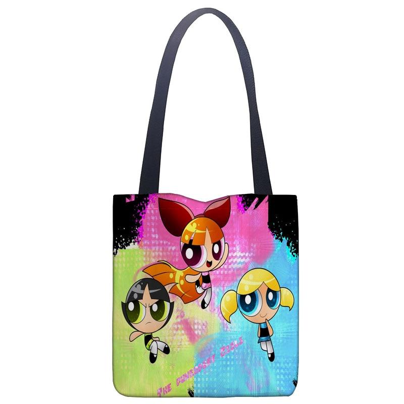 Powerpuff Girls Reboot Handbag Print Canvas Fabric Tote Bag Customized Eco Bags Single Shoulder Bag Custom Made Shopping Bags tote bag