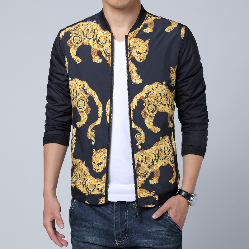 Tiger Jackets Mens Gold Veste Homme Marque Luxe Chaquetas Hombre 2017 Club Outfit Luxury Mens Leopard Print Jackets Slim Fitted