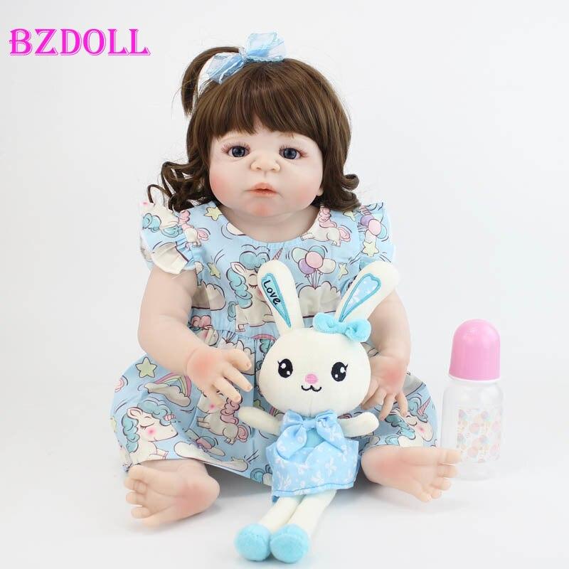 55cm Full Silicone Reborn Baby Doll Toy For Girl Lifelike Vinyl Newborn Princess Babies Bebe Bathe