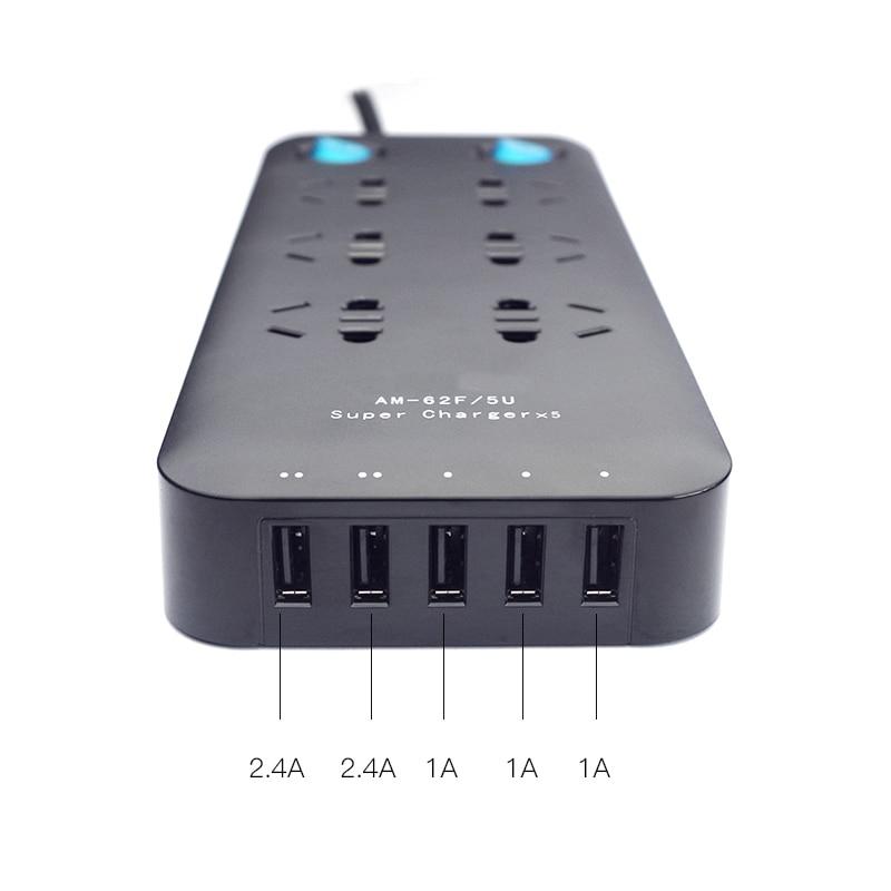 Vente chaude 5 USB port surge protector puissance bande UA plug 6 sorties extension Australie socket avec USB port de charge