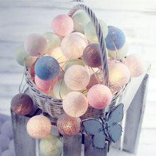 Luzes led de 4cm de algodão, pisca-pisca colorida com 2m, luzes para o natal, para áreas externas, jardim, decoração de casamento, iq