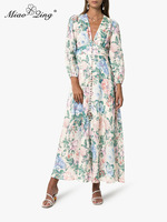 MIAOQING fall 2019 v neck long dress belt ZIM floral print lantern long sleeves elegant resort ladies fashion