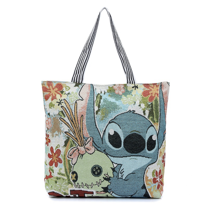 Fashion 3D Printing Cartoon Stitch Canvas Tote Bag Flowers Women Handbag Shoulder Bags Women Shopping Bags Beach Bag japanese pouch small hand carry green canvas heat preservation lunch box bag for men and women shopping mama bag
