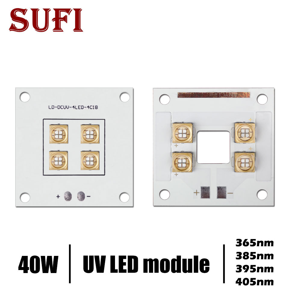 40W high power LED <font><b>UV</b></font> violet LED Module for 3D printer 365nm 385nm 395nm 405nm printing ink curing water cooled <font><b>UV</b></font> light source image