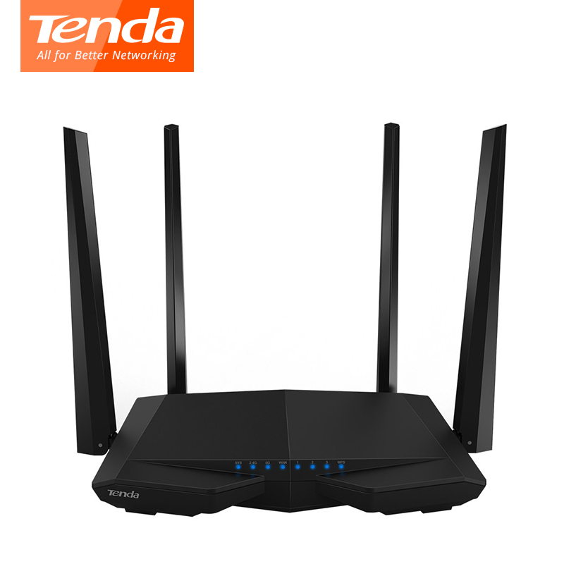 Tenda AC6 Dual Band 1200Mbps Wifi Router WI-FI Repeater Wireless 11AC 2.4G/5.0GHz Remote Control APP English Firmware new tp link wdr7400 1750mbps 11ac 6 antenna fast wifi extender wireless dual band router for home computer networking