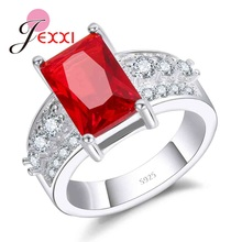 JEXXI Women Wide 100% Pure 925 Sterling Silver Rings With Deep Red Rectangular Crystal Fast Shipping Luxury Jewelry