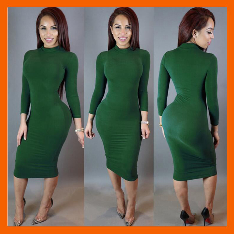 BANDAGE DRESS FASHION LONG-SLEEVED SEXY LADIES NIGHTCLUBS SOLID COLOR DRESS